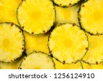 pineapple juicy yellow slices... | Shutterstock . vector #1256124910