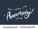 happy anniversary lettering... | Shutterstock .eps vector #1256126449