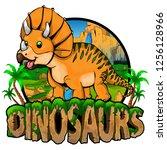 logo  dinosaurs world with... | Shutterstock .eps vector #1256128966