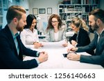 business people conference in... | Shutterstock . vector #1256140663