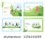 healthy lifestyle running... | Shutterstock .eps vector #1256141059
