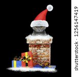 happy santa cat climbs out of... | Shutterstock . vector #1256147419