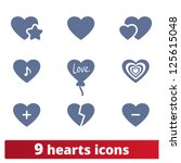 hearts icons  vector set of... | Shutterstock .eps vector #125615048