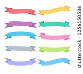 ribbon  set with colorful... | Shutterstock .eps vector #1256150536