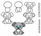 how to draw an animal in stages | Shutterstock .eps vector #1256153923
