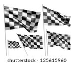 racing checkered vector flags.... | Shutterstock .eps vector #125615960