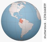 colombia on the globe. earth... | Shutterstock .eps vector #1256166859