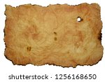 sheet of old yellowed rumpled... | Shutterstock . vector #1256168650