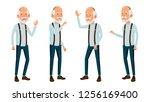 asian old man vector. elderly... | Shutterstock .eps vector #1256169400