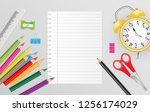 blank note paper with school... | Shutterstock .eps vector #1256174029