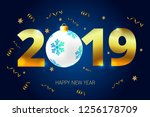2019 happy new year  vector | Shutterstock .eps vector #1256178709