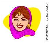punjabi lady face cartoon.... | Shutterstock .eps vector #1256180650