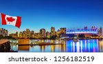 canadian flag in front of view... | Shutterstock . vector #1256182519