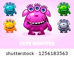 vector cartoon cute monster in...