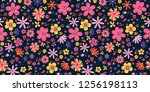amazing floral vector seamless... | Shutterstock .eps vector #1256198113