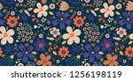 amazing floral vector seamless... | Shutterstock .eps vector #1256198119