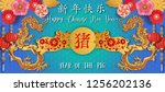 chinese new year 2019.year of... | Shutterstock .eps vector #1256202136