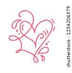 monoline red vector valentines... | Shutterstock .eps vector #1256206579