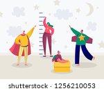 children in superhero costume... | Shutterstock .eps vector #1256210053