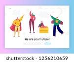 children playing in superhero... | Shutterstock .eps vector #1256210659