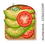avocado toast with fresh slices ... | Shutterstock .eps vector #1256212249