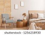 trendy retro armchair next to... | Shutterstock . vector #1256218930