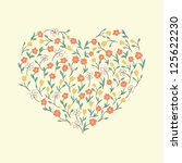 abstract floral heart with... | Shutterstock .eps vector #125622230