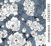 seamless pattern of wild roses... | Shutterstock .eps vector #1256230783