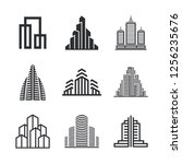 city buildings and houses. set... | Shutterstock .eps vector #1256235676