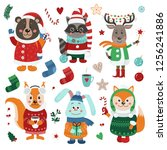 christmas set with isolated... | Shutterstock .eps vector #1256241886