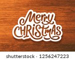 merry christmas text on paper... | Shutterstock . vector #1256247223