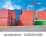 stack of containers box  cargo... | Shutterstock . vector #1256251300
