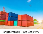 stack of containers box  cargo... | Shutterstock . vector #1256251999