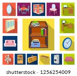 furniture and interior flat... | Shutterstock .eps vector #1256254009