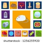 pet shop flat icons in set... | Shutterstock .eps vector #1256255920