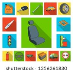 car  vehicle flat icons in set... | Shutterstock .eps vector #1256261830