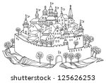 cartoon hand drawing castle | Shutterstock .eps vector #125626253