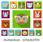 muzzles of animals flat icons... | Shutterstock .eps vector #1256262553