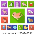 an unrealistic flat animal... | Shutterstock .eps vector #1256262556