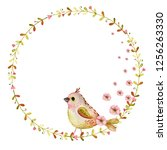 watercolor spring wreath with... | Shutterstock . vector #1256263330