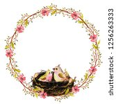 watercolor spring wreath with... | Shutterstock . vector #1256263333