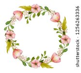 watercolor spring wreath with... | Shutterstock . vector #1256263336