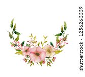 watercolor spring wreath with... | Shutterstock . vector #1256263339