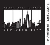 new york typography  tee shirt...   Shutterstock .eps vector #1256266546