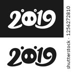 happy new year 2019 greeting... | Shutterstock . vector #1256272810