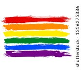 lgbt flag painted with brush... | Shutterstock .eps vector #1256275336