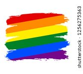lgbt flag painted with brush... | Shutterstock .eps vector #1256275363