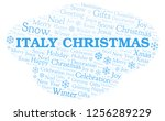 italy christmas word cloud. | Shutterstock . vector #1256289229
