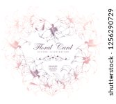 vector card with heart floral... | Shutterstock .eps vector #1256290729