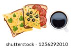 set of food for breakfast. two... | Shutterstock .eps vector #1256292010
